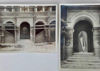 Atrium alcove during restoration works and photomontage