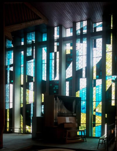 Stained-glass window, choir and baptistry, Church of Saint Yves