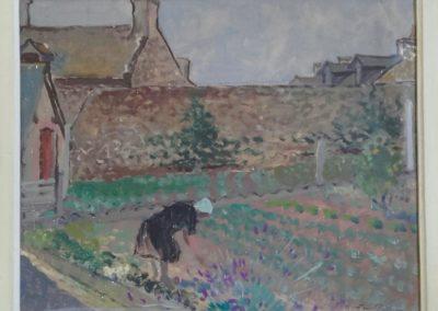 Léontine Pellerin dans son jardin, 1945