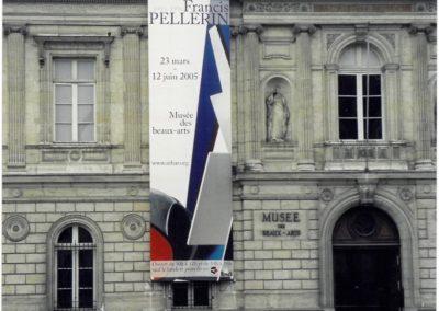 Vertical façade banner for the exhibition at the Musée des Beaux-Arts de Rennes, 2005