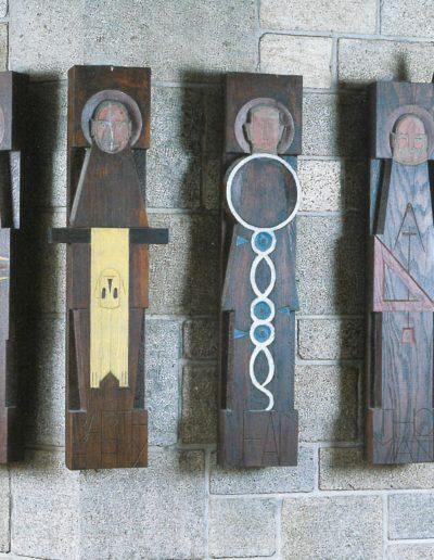 The Apostles, polychrome wood and brass, 1962, Caudan