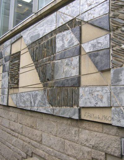 Mural, stone and slate, 1960, courtyard area, Faculté de Droit