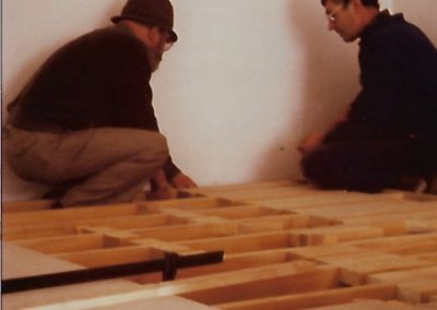 Francis Pellerin and René Besnard during the making of the openwork panel, 1984
