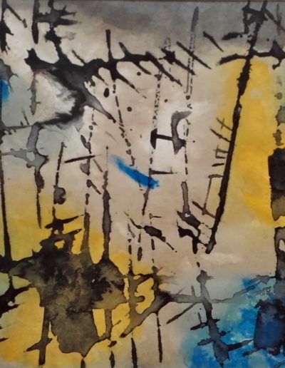 Gestural period, Indian ink, fuel oil and colour, 1967
