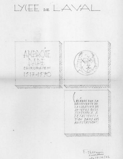 Tracing, medallion, 1973, Lycée Ambroise Paré, Laval