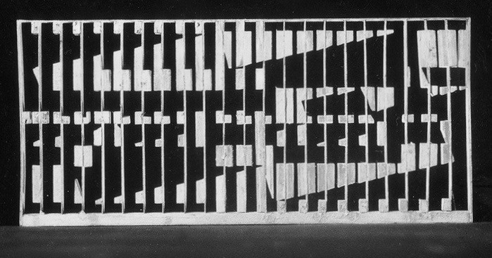 Maquette, openwork panel, 1984, CPAM building foyer
