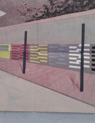 Fougeres Rillé - Calque projet fresque sous les préaux -1957