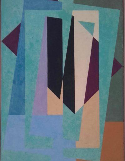Abstrait géométrique - Huile sur toile - 1956