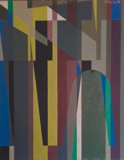 Abstrait géométrique - Huile sur toile - 1958