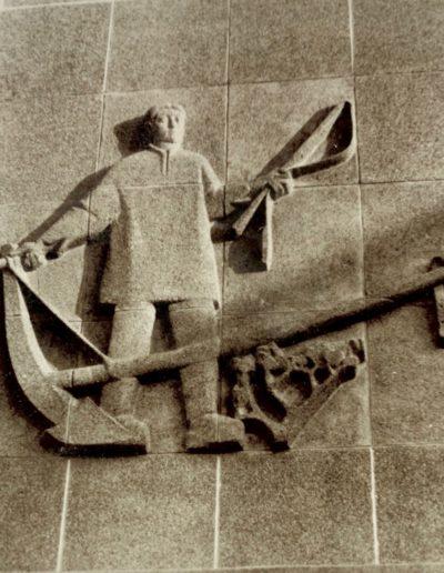 """Lycée Coetlogon - Bas Relief """"Le laboureur"""" 1957"""