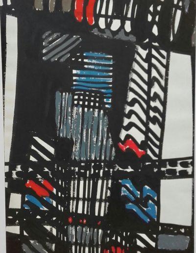 Période gestuelle - Encre de chine de couleur - 1960