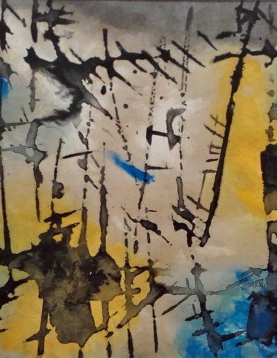 Période gestuelle - Encre mazout et couleur - 1967