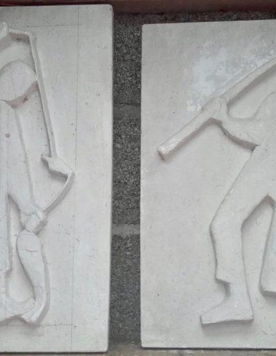 Bas relief plâtre - Pêche à l'épuisette, pêche à la ligne - 1945-50